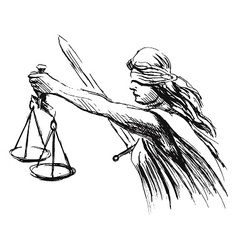 Hand sketch allegory of justice vector