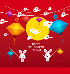 happy mid autumn festival background with rabbit vector image vector image