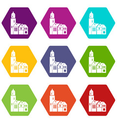 houses icon set color hexahedron vector image vector image