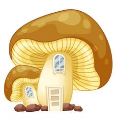 Mushroom house with door and windows vector