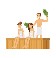 People wearing towels steaming with birch broom in vector