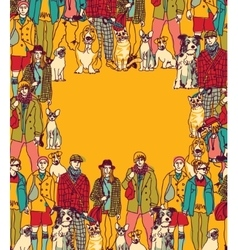 Pets and people frame border color vector