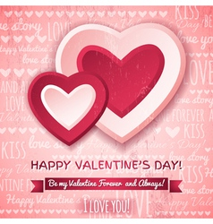pink background with two valentines hearts vector image