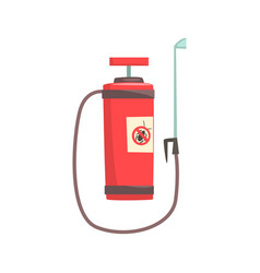 red pressure sprayer for extermination of insects vector image vector image