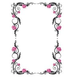 Roses vintage frame vector image