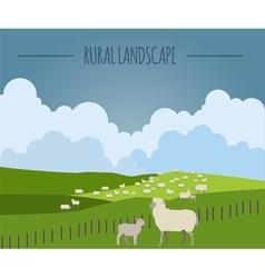 Rural landscape graphic template vector