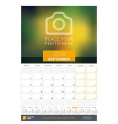 September 2018 wall monthly calendar for 2018 vector