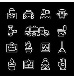Set line icons of sewerage vector