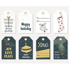 Set of hand draw Christmas gift tags vector image vector image