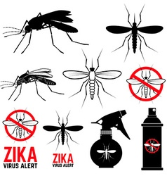 Set of mosquito icons Zika virus alert vector image
