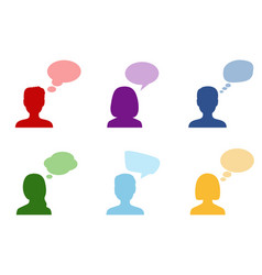 set of silhouettes of people with speech bubbles vector image vector image