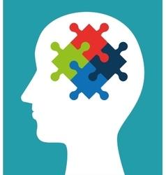 Silhouette head puzzle creativity icon vector