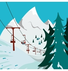 Ski lift in the mountains vector
