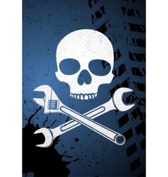 Skull with wrenches vector