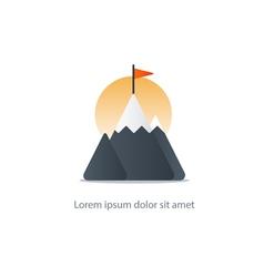 Top achievement mountain peak icon big challenge vector