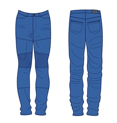 Unisex outlined template jeans front back view vector