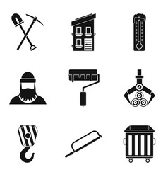 warehouse equipment icons set simple style vector image