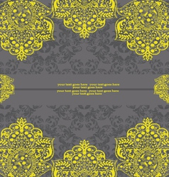 Yellow and Gray Damask Wedding Invitation vector image