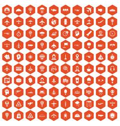 100 aviation icons hexagon orange vector