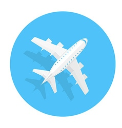 Airplane trendy icon plane on a blue circle flat vector