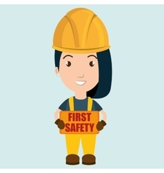 First safety worker icon vector