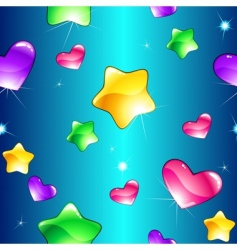 Hearts and stars pattern vector