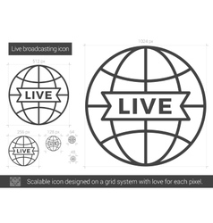 Live broadcasting line icon vector