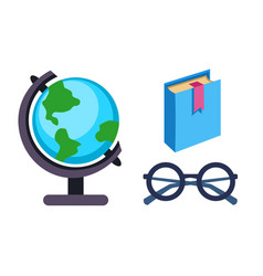 Globe earth geography book and glasses icon vector