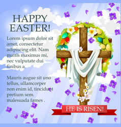 Easter cross with flowers cartoon festive poster vector