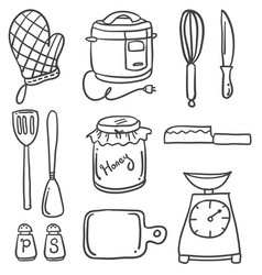 doodle of kitchen set style hand draw vector image