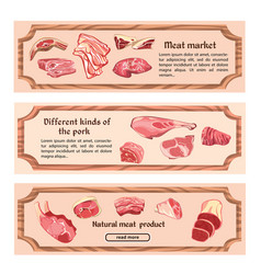 hand drawn natural meat horizontal banners vector image