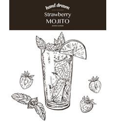 Strawberry mojito sketch vector