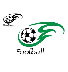 Soccer ball with green flame vector