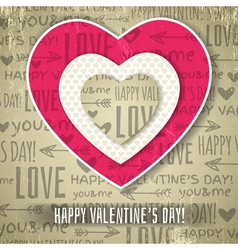 Beige background with red valentine heart vector