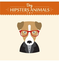 Hipster character elements for nerd puppy dog with vector