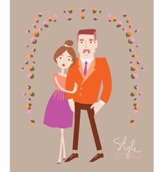 Young stylish couple in love man and woman fashion vector