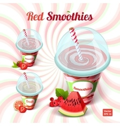 Set of three red smoothie in a plastic cup with vector
