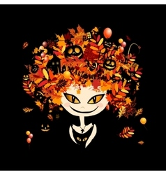 Halloween holiday design female head vector