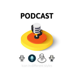 Podcast icon in different style vector