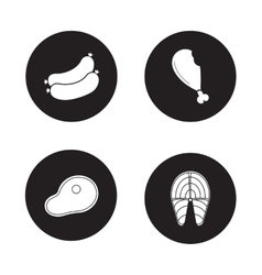 Barbecue meat black icons set vector