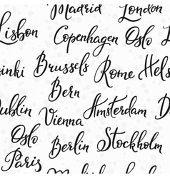 Lettering seamless pattern europe capitals vector