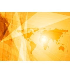 Bright orange world map technology background vector