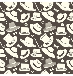 Pattern with vintage hats vector
