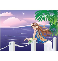 Girl on tropical sea vector
