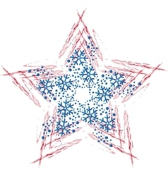 Christmas star with snowflakes vector