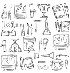 School object design in doodles vector