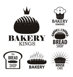 bakery logotypes set bakery vintage black and vector image