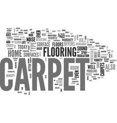 Benefits of carpet text word cloud concept vector