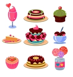 Bright dessert icons set vector