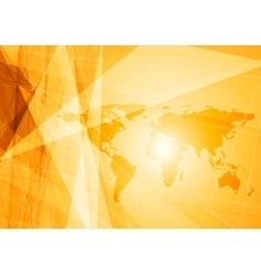 Bright orange world map technology background vector